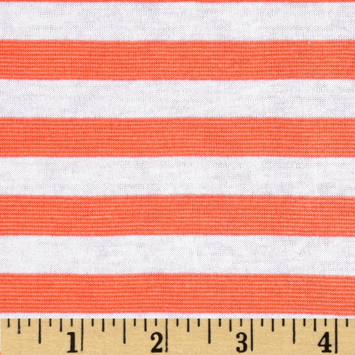Yarn Dyed Jersey Knit Neon Stripes Orange/White