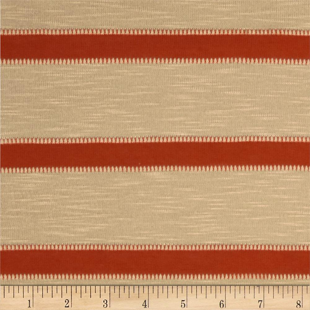 Novelty Slub Hatchi Knit Stripes Tan/Rust