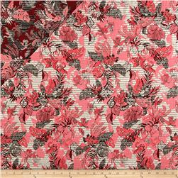 French Reversible Tropical Floral Jacquard Pink/White/Blue