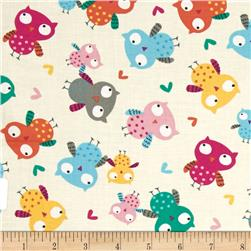 Timeless Treasures Owls Cream