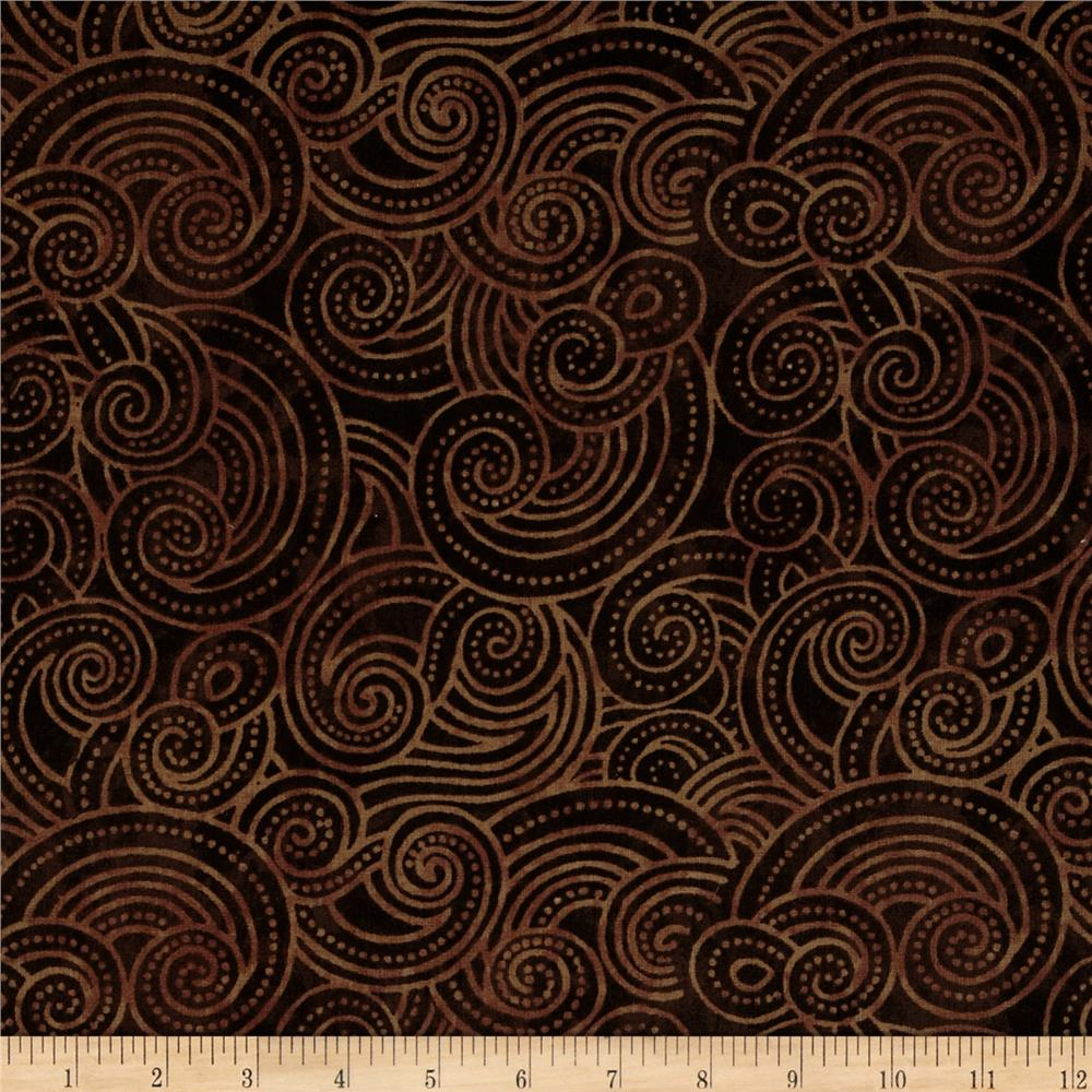 Essential dotty waves 108 wide quilt back brown for Quilting material