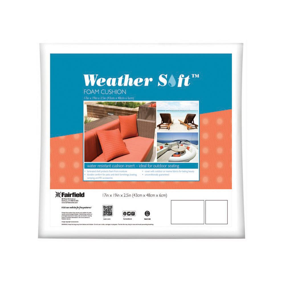 "Fairfield Weather Soft Outdoor Cushion 17"" x 19"" x 2.5"" White"