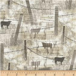 Judy Niemeyer's Reclaimed West Barbed Wire w/ Cows Beige