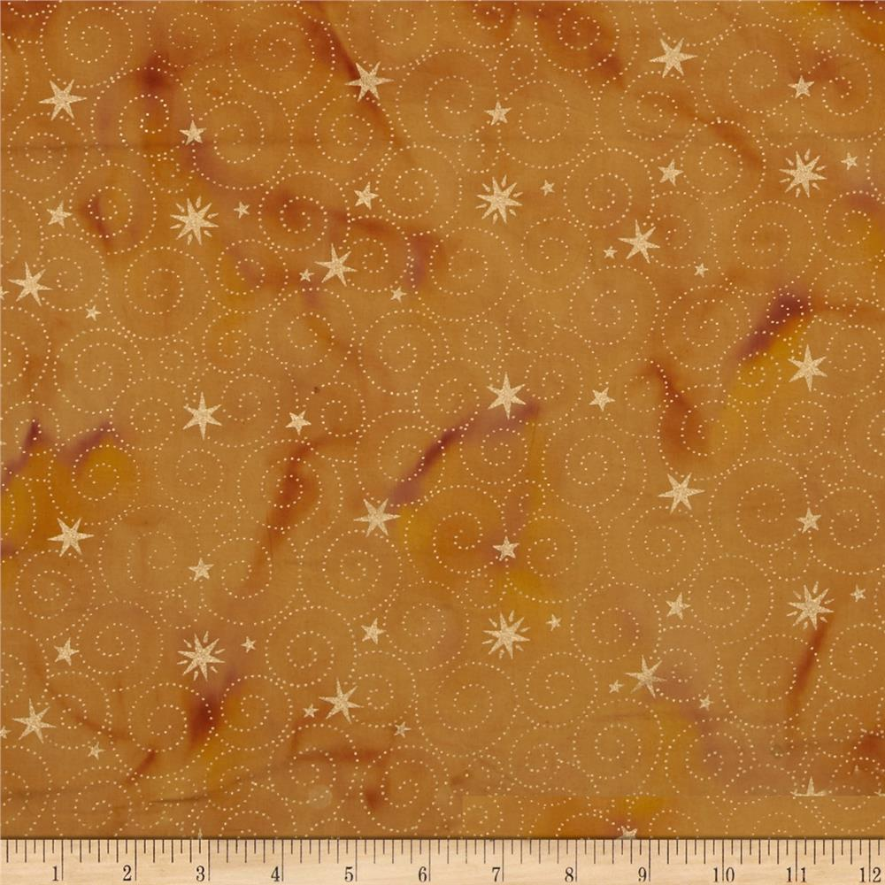 Island Batik Holiday Happenings Metallic Star Swirl Gold