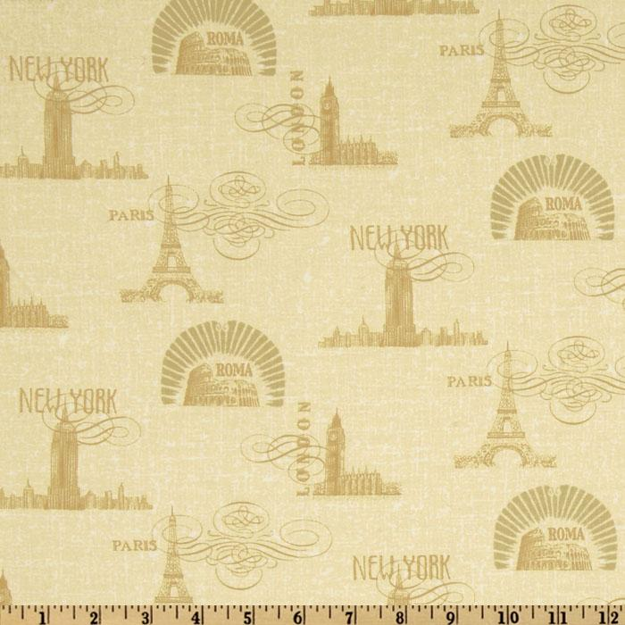 Coffee Break Skyline Toile Gold