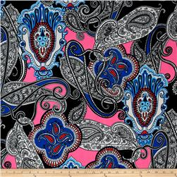 Alanna Resort ITY Knit Paisley Prints Black/Pink/Blue