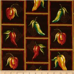 Chili Pepper Collage Ochre