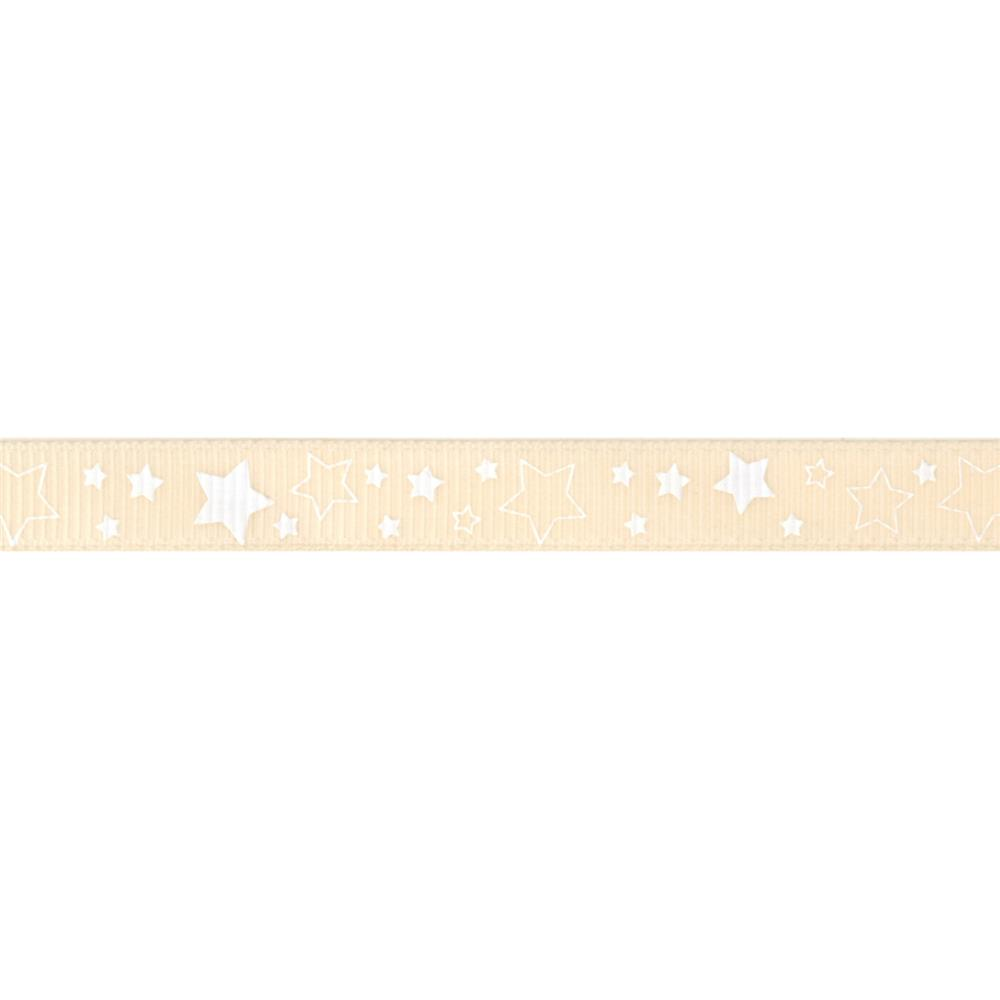 "Riley Blake 3/8"" Grosgrain Ribbon Stars Cream"