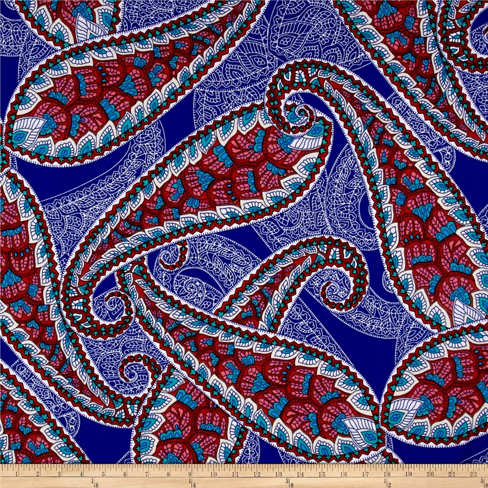 Liverpool Double Knit Paisley Red/Pink/White/Blue