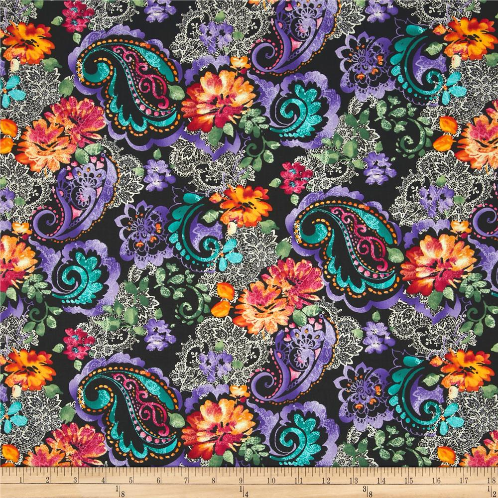 Timeless Treasures Indian Summer Large Floral Black