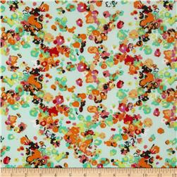 ITY Jersey Knit Floral Mint/Orange