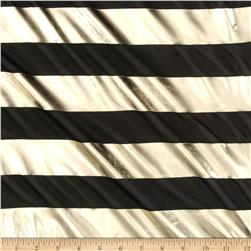 Chiffon Metallic Foil Stripes Black/Gold