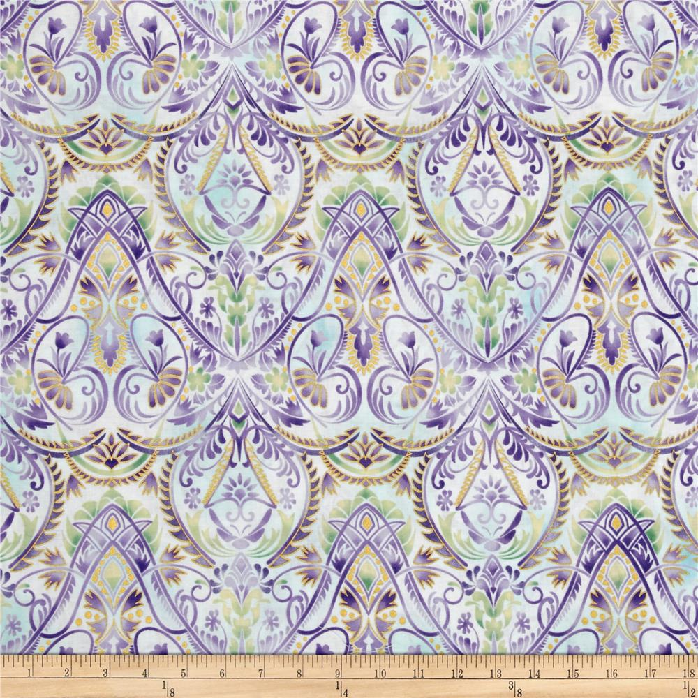 Kaufman Lumina Metallics Large Floral Blender Peacock Fabric By The Yard