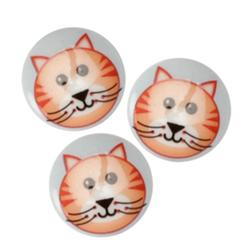 Novelty Button 3/4''Critter Cat  Multi