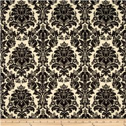 Chenonceau Flannel Damask Black