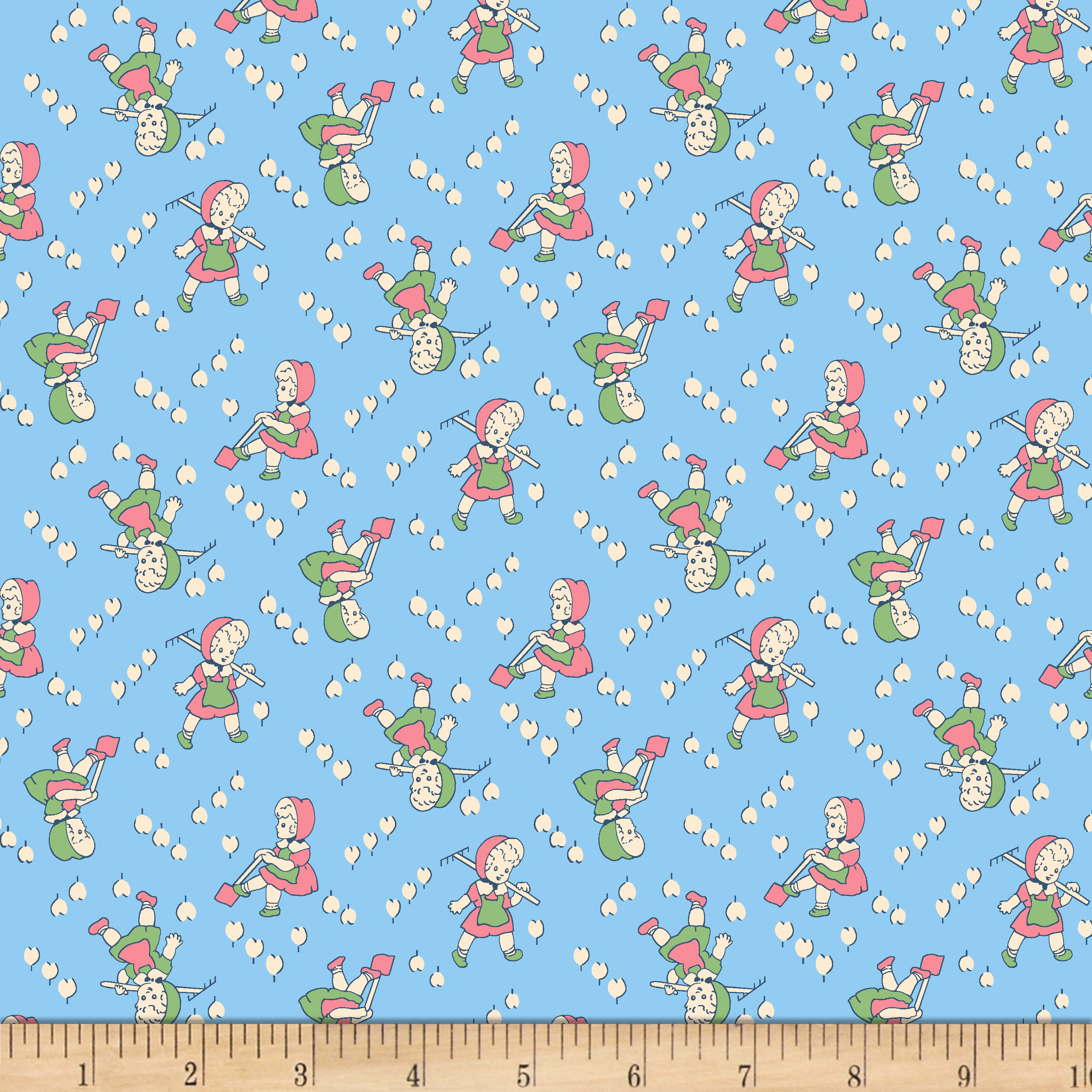 Lazy Days Garden Girl Blue Fabric by MM Fab in USA