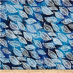 Indian Batik Cascades Leaf Blue