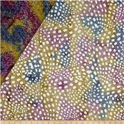 Double Face Quilted Indian Batik Small Dots Blue/Purple/Olive