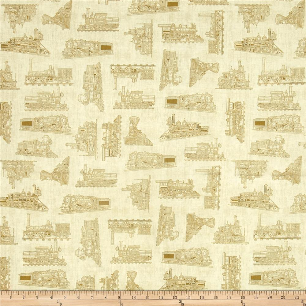 Full steam ahead train toile light oatmeal discount for Train print fabric
