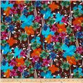 Crepe de Chine Floral Turquoise/Brown/Orange