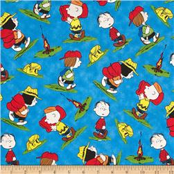 Camp Peanuts Character Toss Royal Blue Fabric