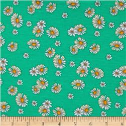 Stretch Jersey Knit Daisies White/Green