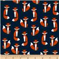 Kaufman Laguna Stretch Jersey Knit Fabulous Foxes Navy