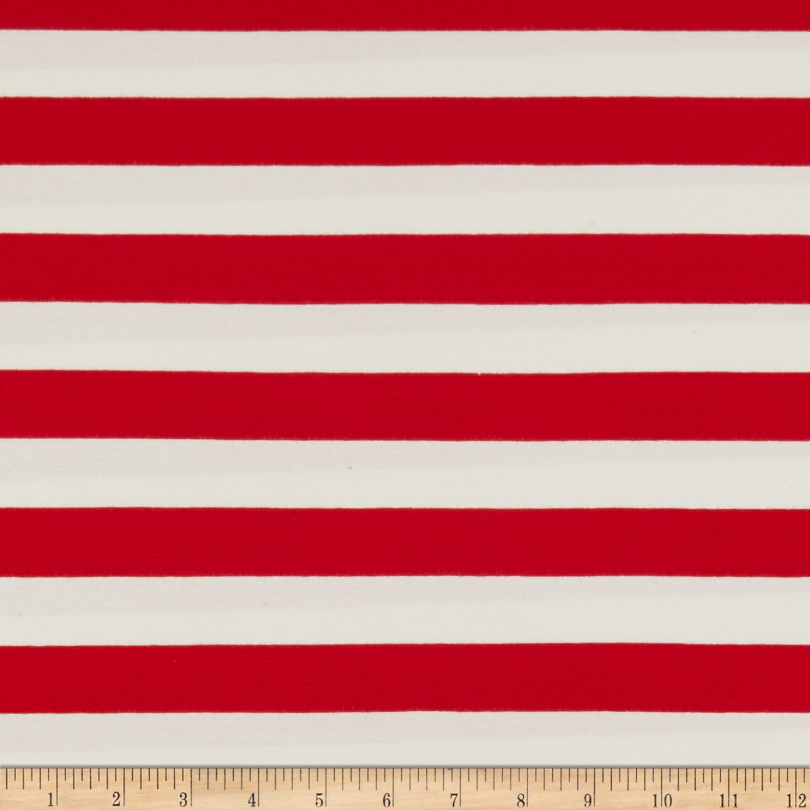 Art Gallery Striped Bold Red Jersey Knit Red & White Fabric