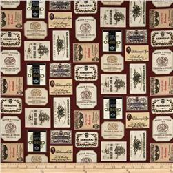 Italian Vineyard Wine Labels Burgundy Fabric