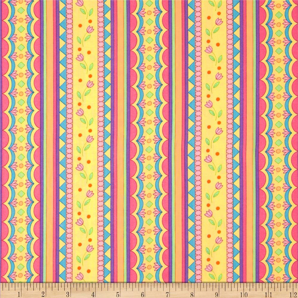 Garden Party Floral Stripe Multi/Yellow