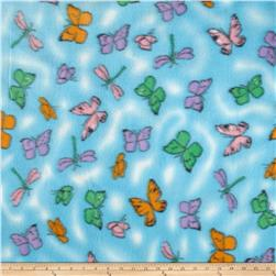 Printed Fleece Butterfly Blue