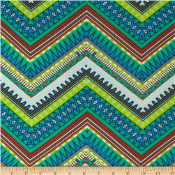 Chiffon Print Aztec Chevron Black/Green/White Fabric