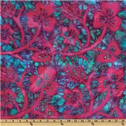 Indian Batik Large Floral Fuchsia/Multi