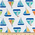 Timeless Treasures Splash Sail Boats White