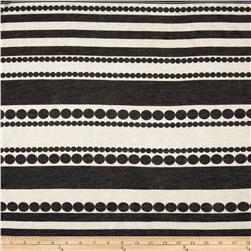 Spun Polyester Tissue Jersey Knit Shapes and Stripes Black/Cream