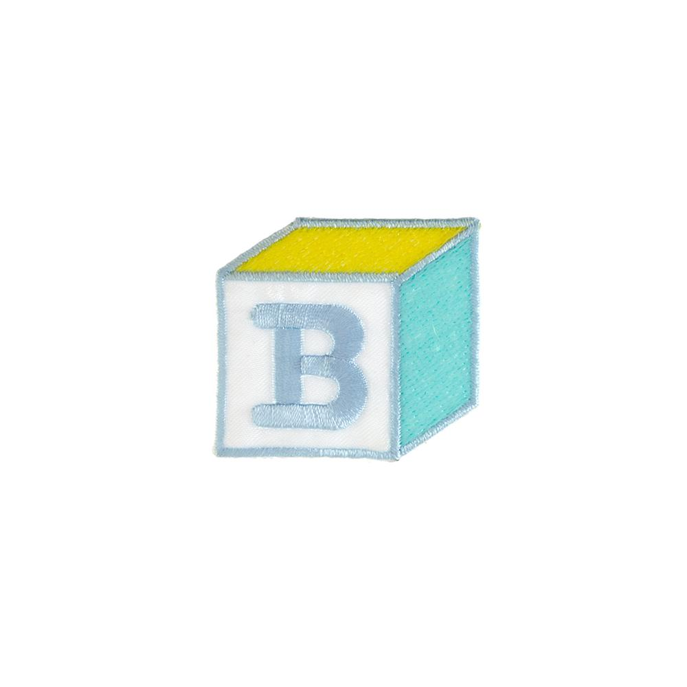 B Block Applique Blue