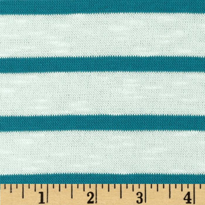 Stretch Yarn Dyed Hatchi Sweater Knit White/Teal