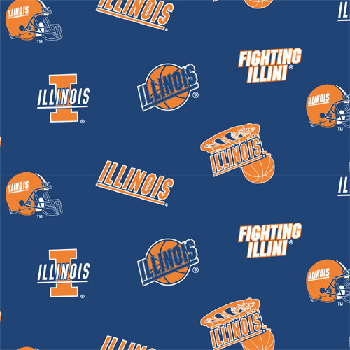 Collegiate Cotton Broadcloth University of Illinois Allover Blue