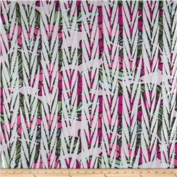 Embellished Stretch ITY Jersey Knit Foliage Pink/Green Fabric