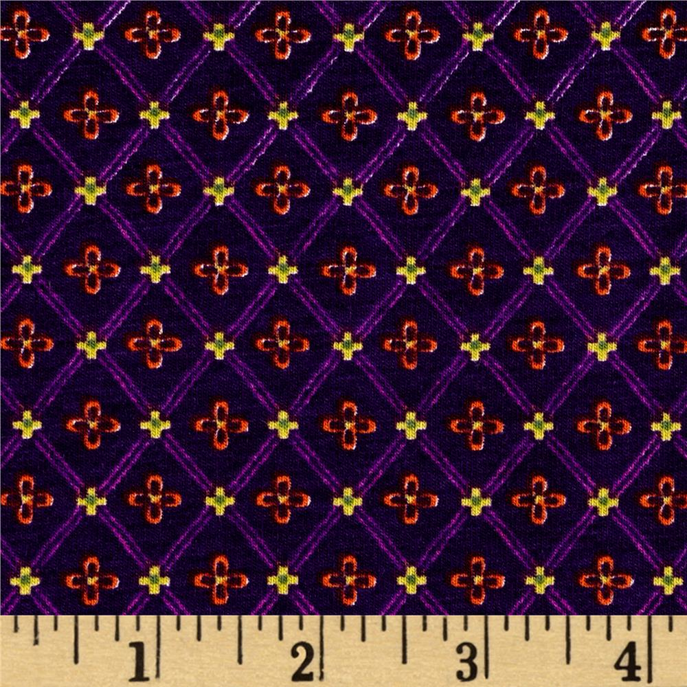 Cotton Lycra Spandex Jersey Knit Diamond Star Print Plum Fabric