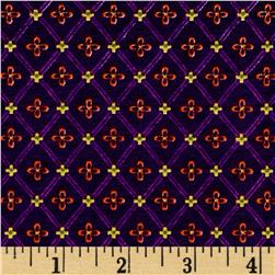 Cotton Lycra Jersey Knit Diamond Star Print Plum