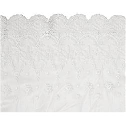 "10.5"" Larissa Laurel Leaf Scalloped Lace Trim White"