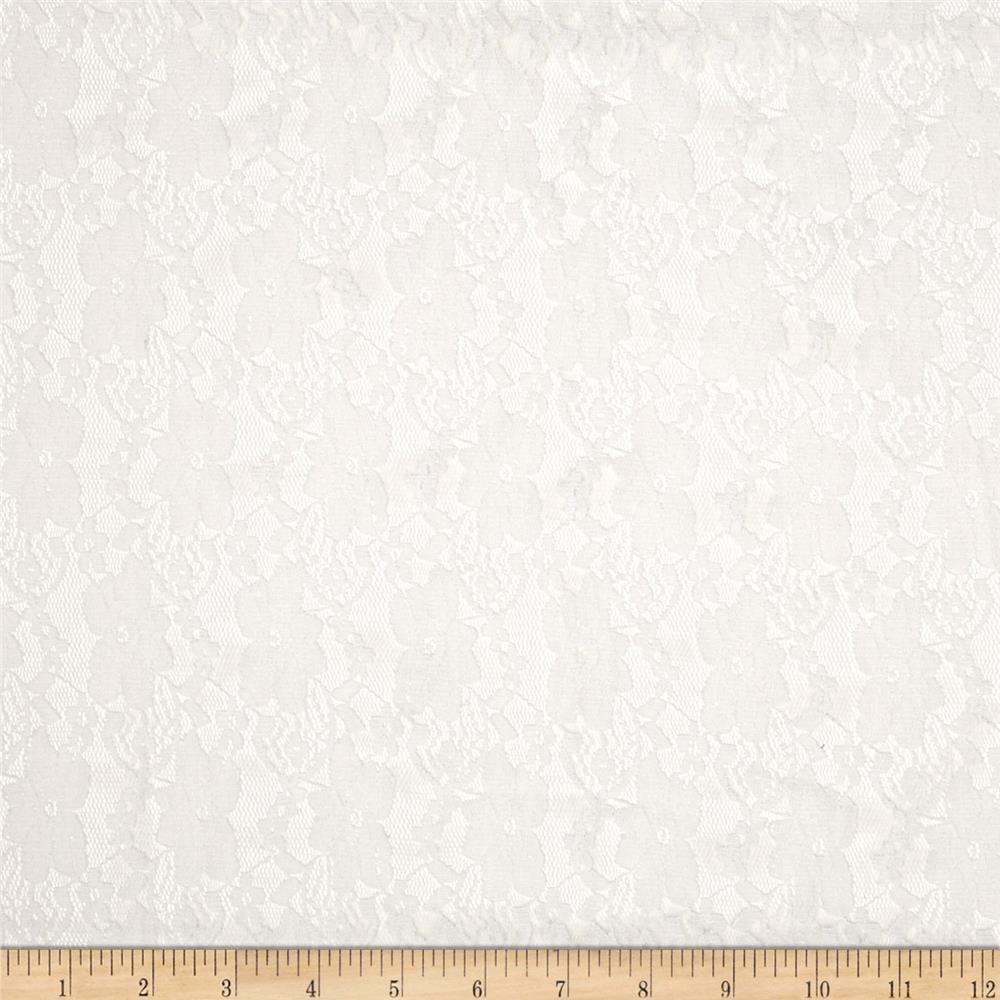 Floral Stretch Lace Pure White
