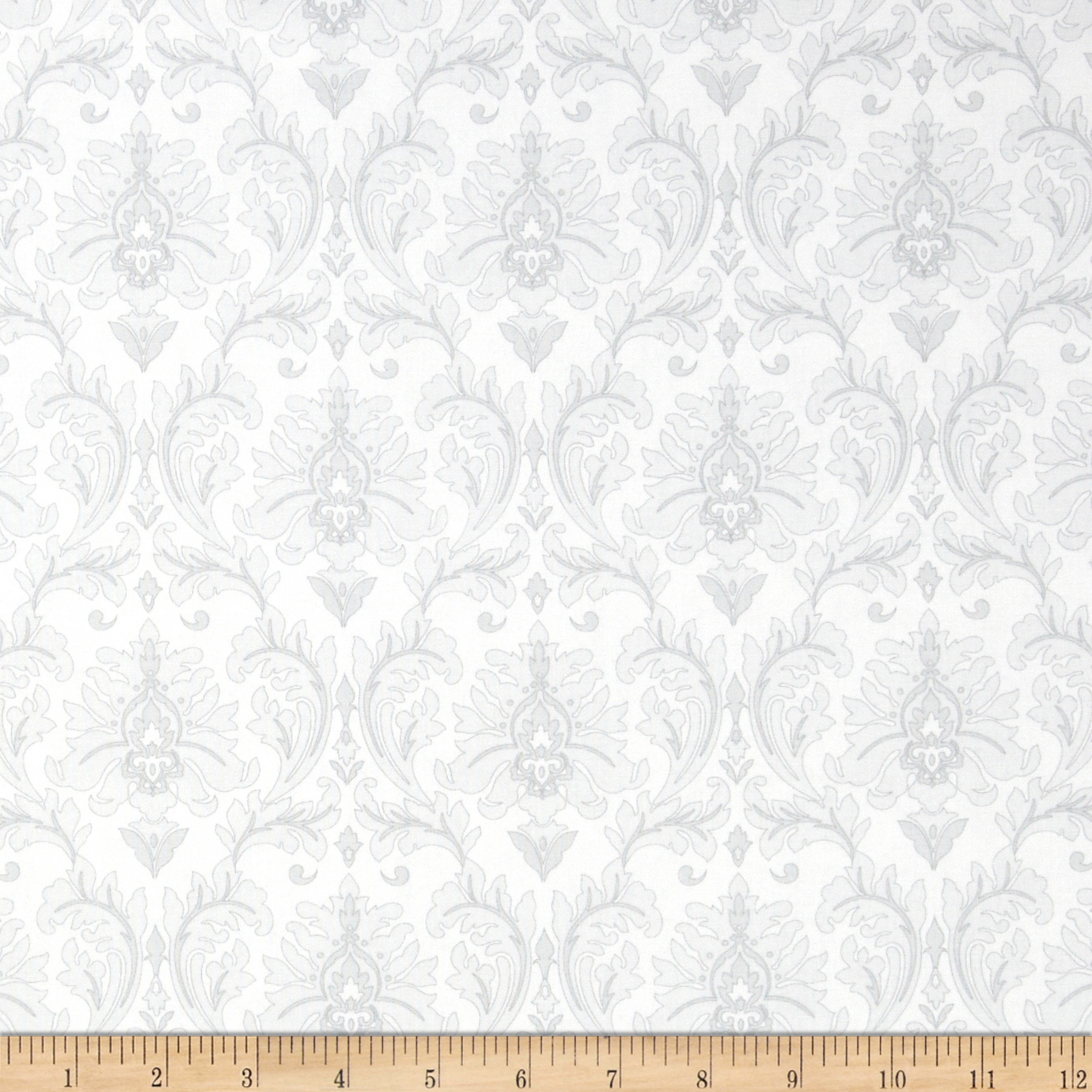 Black White & Currant 5 Damask White Fabric