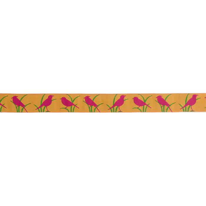 7/8'' Ribbon Bird Fuchsia/Gold