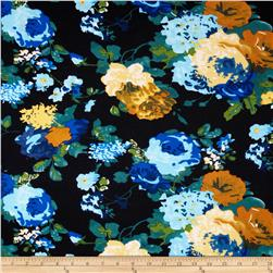 Stretch Ponte de Roma Knit Floral Black/Yellow/Blue