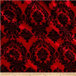 Flocked Damask Taffetta Red/Black