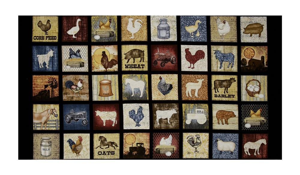 Bountiful Farm Animals Small Patch 23.5'' Panel Black Fabric