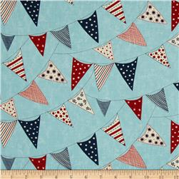 Moda Red, White & Free Buntings Light Blue