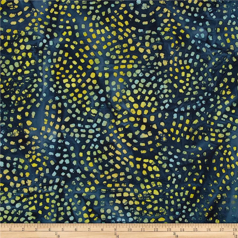 Indian Batiks Gypsy Dot Blue/Yellow